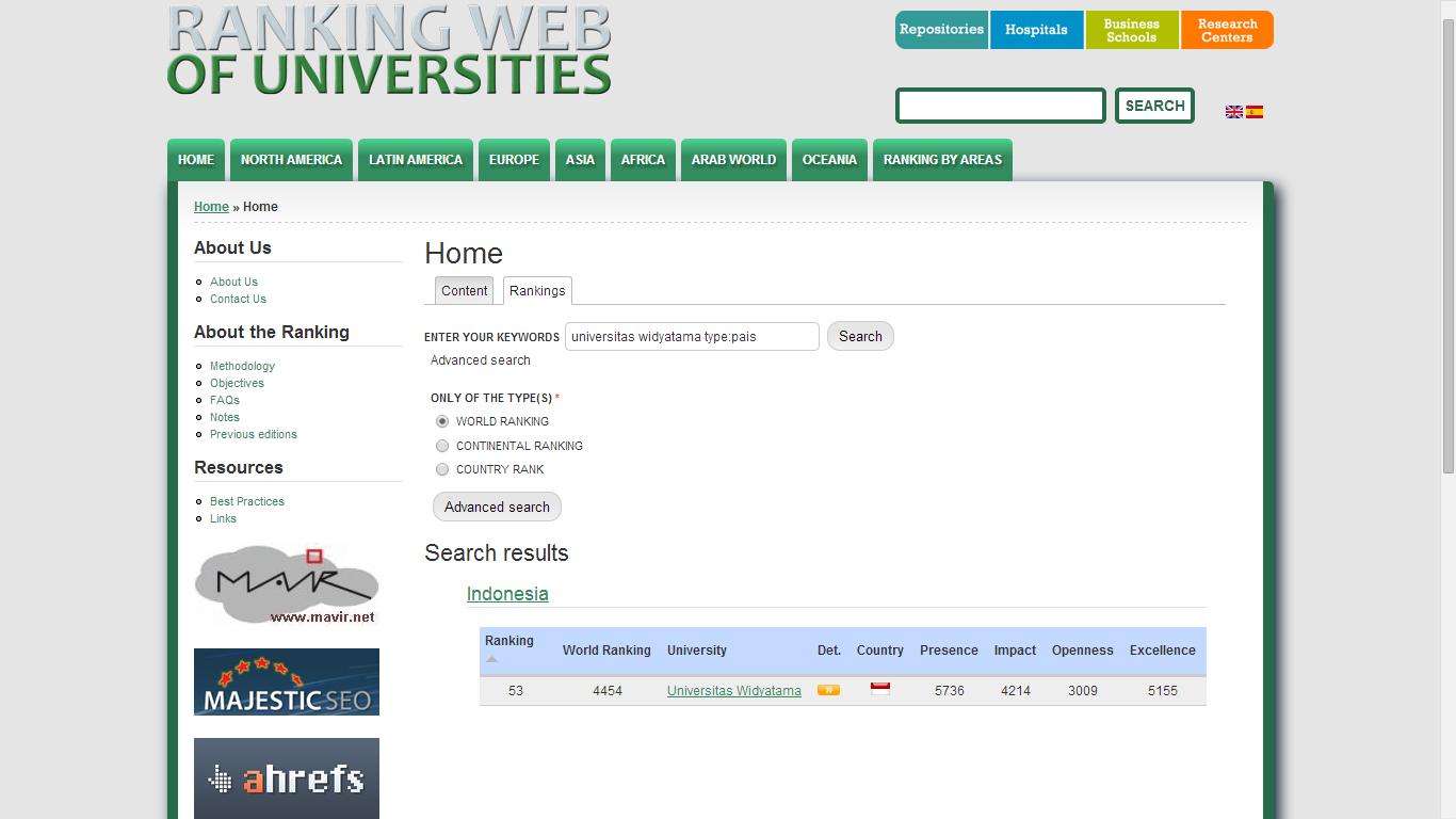 Selamat Atas Prestasi Rangking Webometric dan Repository Universitas Widyatama